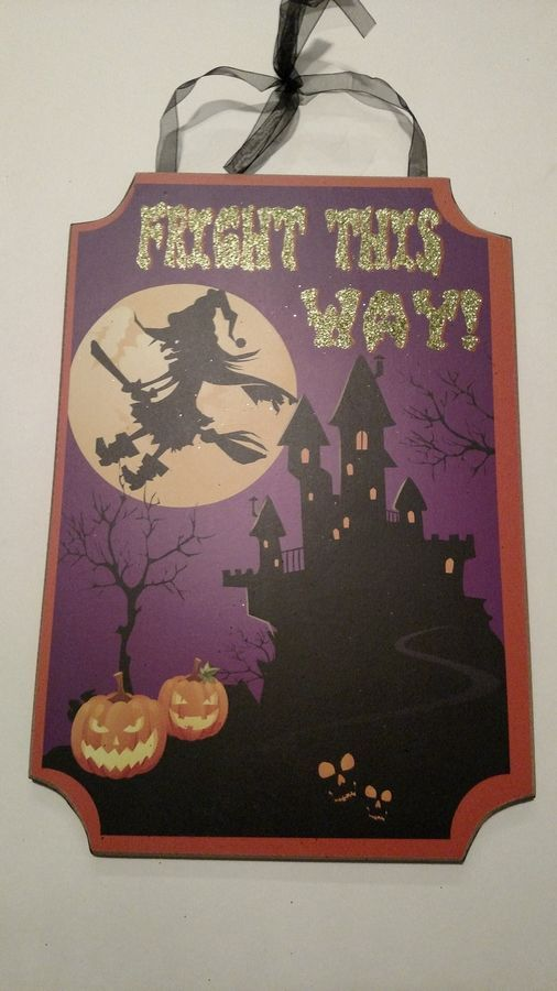 NEW FRIGHT THIS WAY WALL SIGN HALLOWEEN DECORATION#WALL#FRIGHT#SIGN