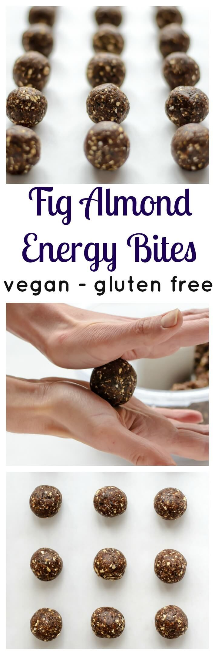 No Bake Fig Almond Energy Bites. The best easy and healthy snack, and you can take them with you anywhere! Vegan and gluten free.