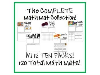 This is the COMPLETE COLLECTION of Math Mats!  All 12 Ten Packs are included on this CD for a total of 120 Math Mats!  I have also included the 6 F...