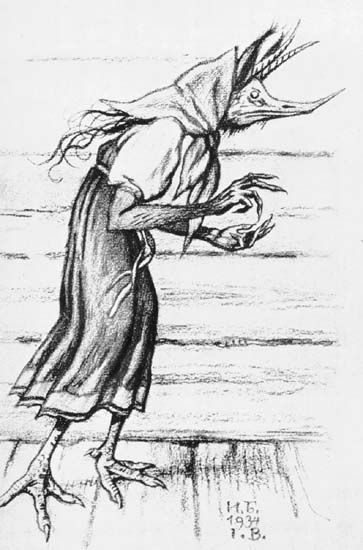 KIKIMORA - is a female house spirit in Slavic mythology, sometimes said to be married to the Domovoi. Kikimora is said to look after the chickens and the housework if the home is well-kept. If not, she will tickle, whistle, and whine at the children at night. She also comes out at night to spin. It is said that a person who sees Kikimora spinning will soon die. To appease an angry Kikimora, one should wash all the pots and pans with fern tea. She usually lives behind the stove or in the…