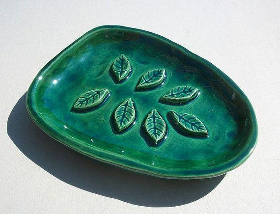 Leaf Design Ceramic Soap Dish Bathroom Decor by FarRidgeCeramics