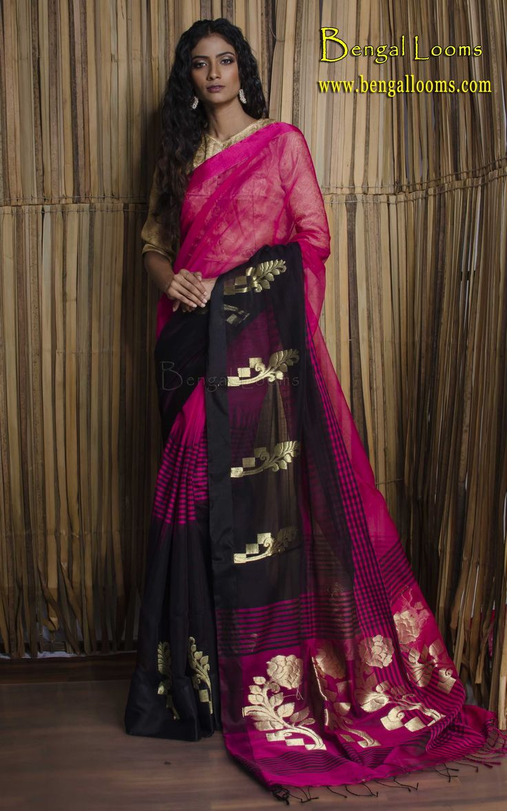 Khadi Cotton Saree in Rani and Black