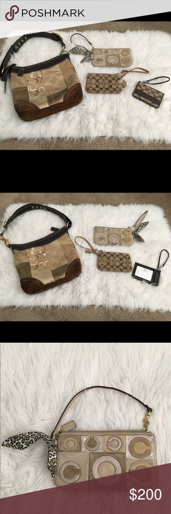 Bundle of 4 Coach Duffle Bag and wristlet wallets Beautiful bundle of Coach signature Duffle bag and wristlets. 1.Coach gold holiday patchwork Duffle bag; gold-tone hardware,leather trim and accents, shoulder strap,leather hang tag,zipper closure. Inside pockets. 2. Coach signature Patchwork tan leather wristlet with leopard print tie(minor pen mark). 3.Coach brown/tan canvas leather wristlet. 4.Coach Signature CC coin purse/keychain ID holder wristlet. All in very good condition with minor…