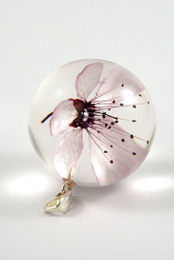 Pink Cherry Flower Pendant Pink Resin Pendant Real Flower