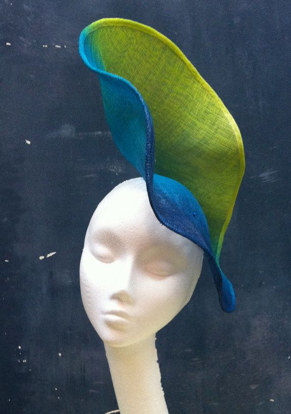 Hand made ombre acid yellow, teal and dark blue statement hat. Unique, bespoke and lovingly crafted by fifilabelle. www.fifilabelle.com