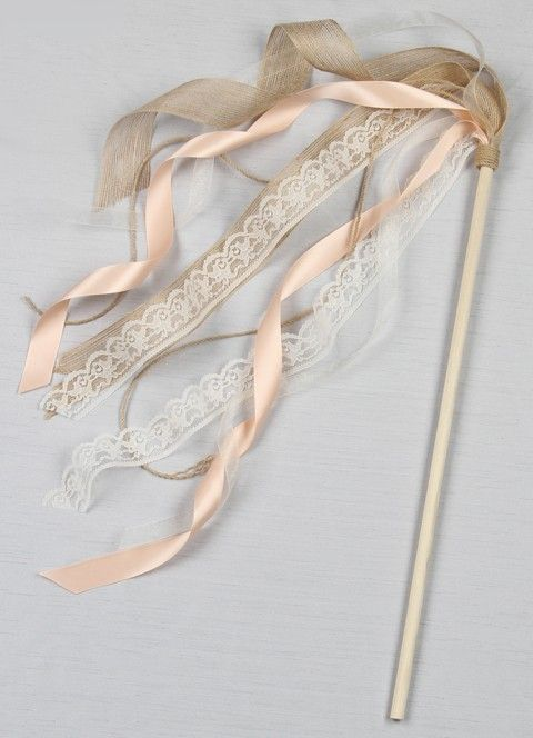 Ribbon Wand by Ivy Lane Design. This is so perfect for the flower girl to carry down the aisle. It can be customized to incorporate your wedding colors too! It has a rustic vintage look with the burlap and lace.