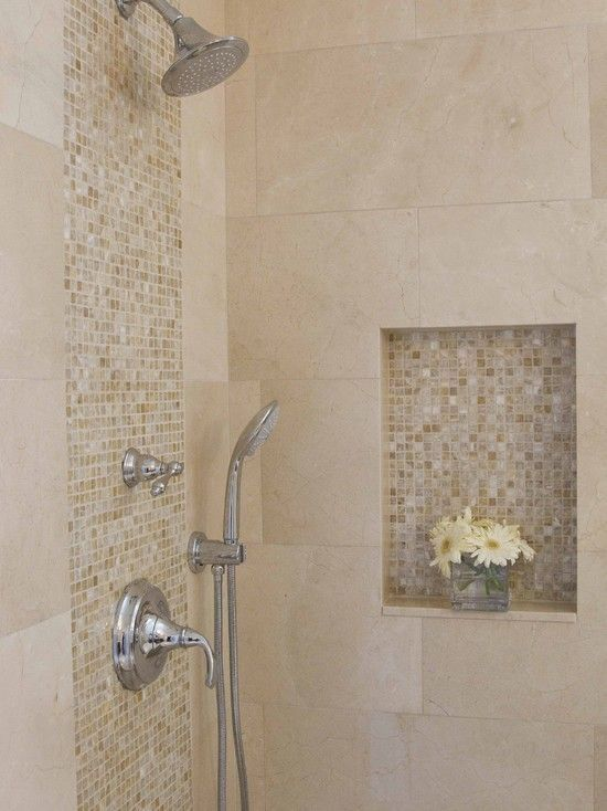 Awesome Shower Tile Ideas Make Perfect Bathroom Designs Always : Minimalist Bathroom Metalic Head Shower Small Flower Vase Shower Tile Ideas by jsanu.openshaw