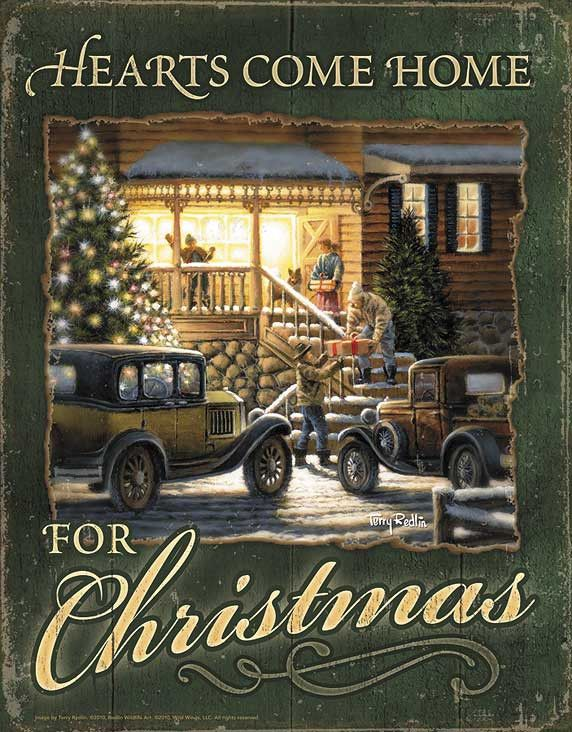Terry Redlin Hearts Come Home for Christmas Tin SIgn