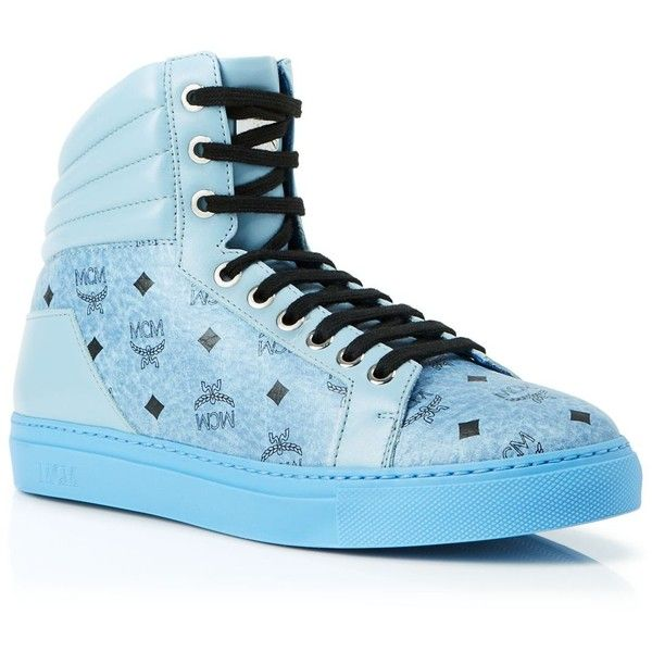 Mcm High Top Sneakers - Carryover Logo ($270) ❤ liked on Polyvore featuring shoes, sneakers, high-top sneakers, mcm shoes, mcm sneakers, print shoes and print sneakers