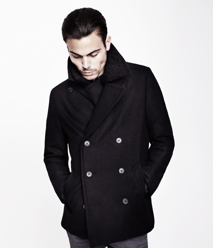 Petrov Pea Coat, Men, Coats, AllSaints Spitalfields