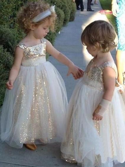 11c45651 Boning:Yes 12.Show Color: As Pictures. Shimmering Sequin Lace & Tulle  Square Neckline Ball Gown Flower Girl Dresses ...