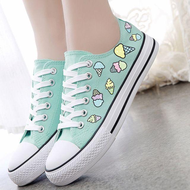 Мороженое печати холст обувь женская обувь повседневная обувь сладкий небольшой свежий низким верха обуви 2016 весна лето конфеты цвет бездельники