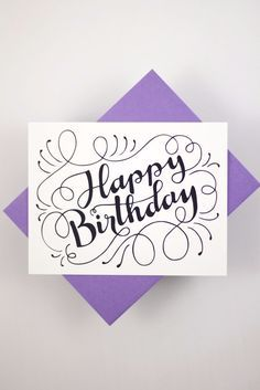 Happy Birthday - one white card with a purple envelope