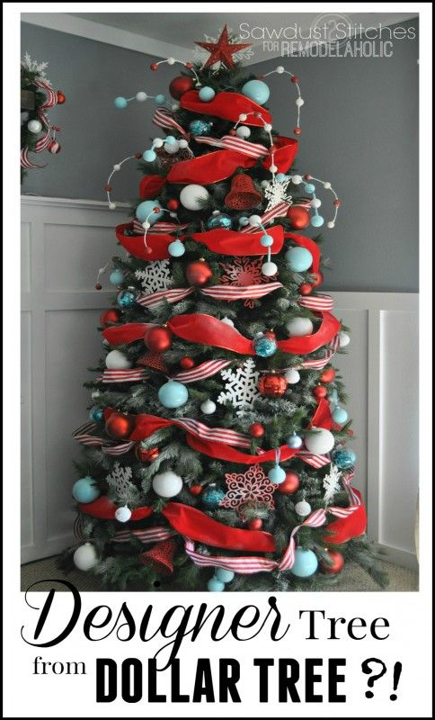 Designer-Look Christmas Tree, Using Dollar Store Supplies! #diychristmastreee #designertree #Remodelaholic #sawdust2stitches