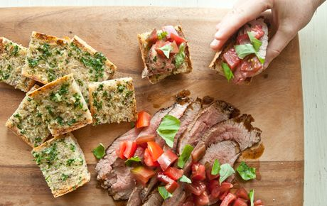SEARED TRI-TIP STEAKS WITH TOMATOES, BASIL AND GARLIC BREADTomato Basil, Food Marketing, Try Tips Steak, Distinctive Triangular, Garlic Breads, Flavored Try Tips, Whole Foods, Triangular Shape, Tomatoes Basil