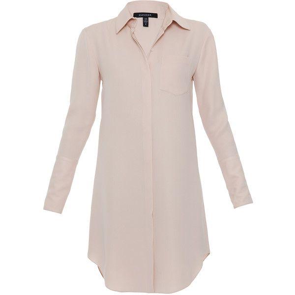 Xander Blush Silk Shirt Dress found on Polyvore featuring dresses, vestidos, shirts, tops, pink, silk dress, pale pink dress, long sleeve dress, button front shirt dress and long sleeve collar dress