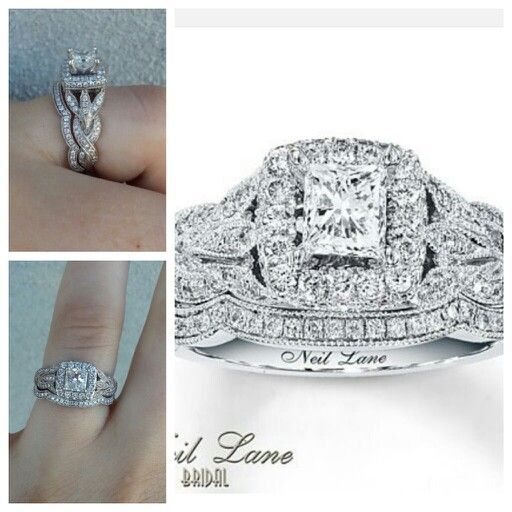 THIS IS MY WEDDING RING AND I LOVE IT SO MUCH ! ♡♡♡Neil Lane Bridal Set 1 1/4 ct tw Diamonds 14K White Gold princess cut, I love the leaves details on this. I got mine at Jared though not kay.