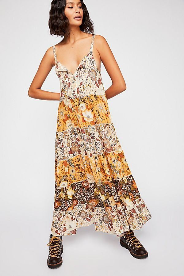 125ccac93c2818 Desert Daisy Maxi Sundress - Multi-Tiered Brown Yellow and Tan Floral Maxi  Dress