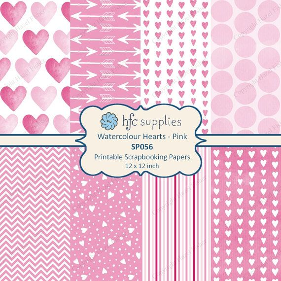 Watercolour Hearts Pink Digital Paper Set, heart and arrows designs for valentine's day, weddings, anniversary card making and craft projects by hfcSupplies on Etsy