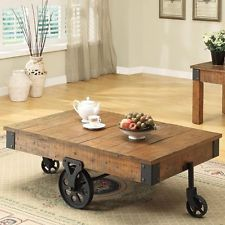 Distressed Wood Country Wagon Coffee Table With Wheels