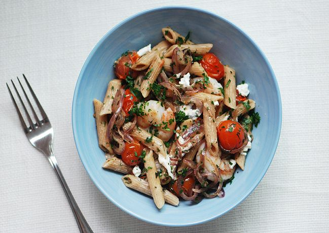 Penne with Shrimp, Red Onion, and Goat Cheese | Recipe