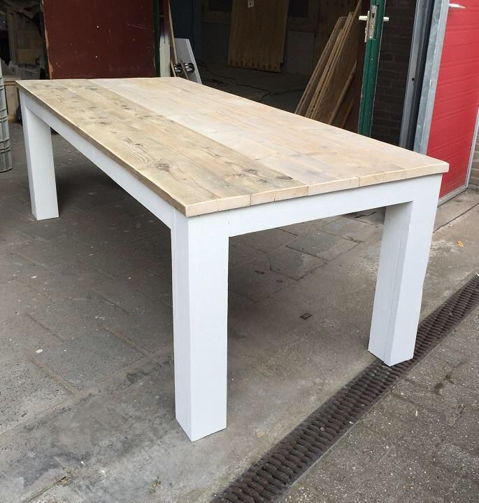 Landelijke tafel stoer steigerhout wit painting the past