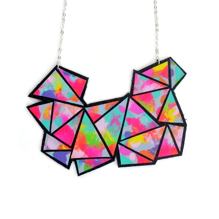 Colorful Geometric Rainbow Triangle Bib Necklace, Statement Jewelry - Boo and Boo Factory - Handmade Leather Jewelry