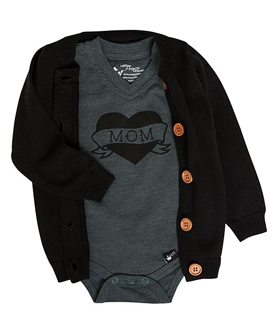 6afde3738738 Littlest Prince Couture Black Button-Up Cardigan   Charcoal Mom ...