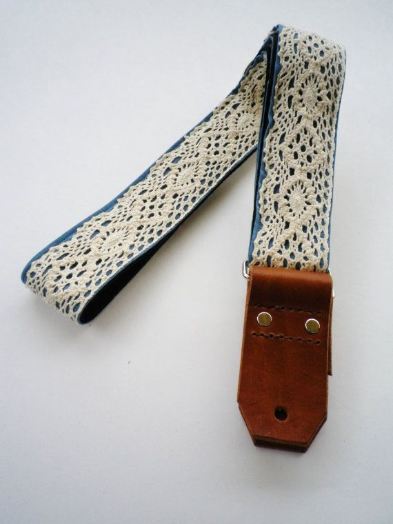Guitar Strap  Ivory Lace on Blue Denim with by TheLittleThingsBySM, $70.00 - super cute