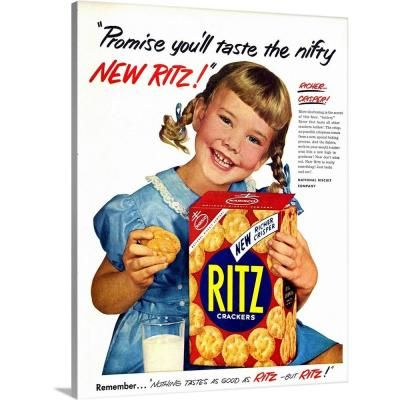 "GreatBigCanvas 18 in. x 24 in. """"Ritz Crackers Advertisement"""" by Advertising Archives Canvas Wall Art, Multi-Color"