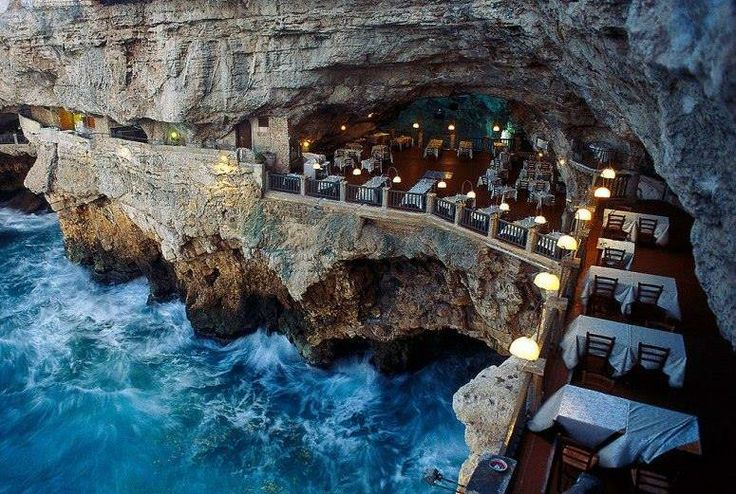The Grotto Palazzese restaurant is embedded into the cliffs of Polignano, 30 kilometres from Bari in Italy