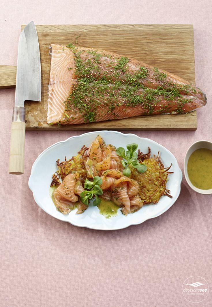 Graved Lachs mit Honig-Senf-Sauce und Rösti