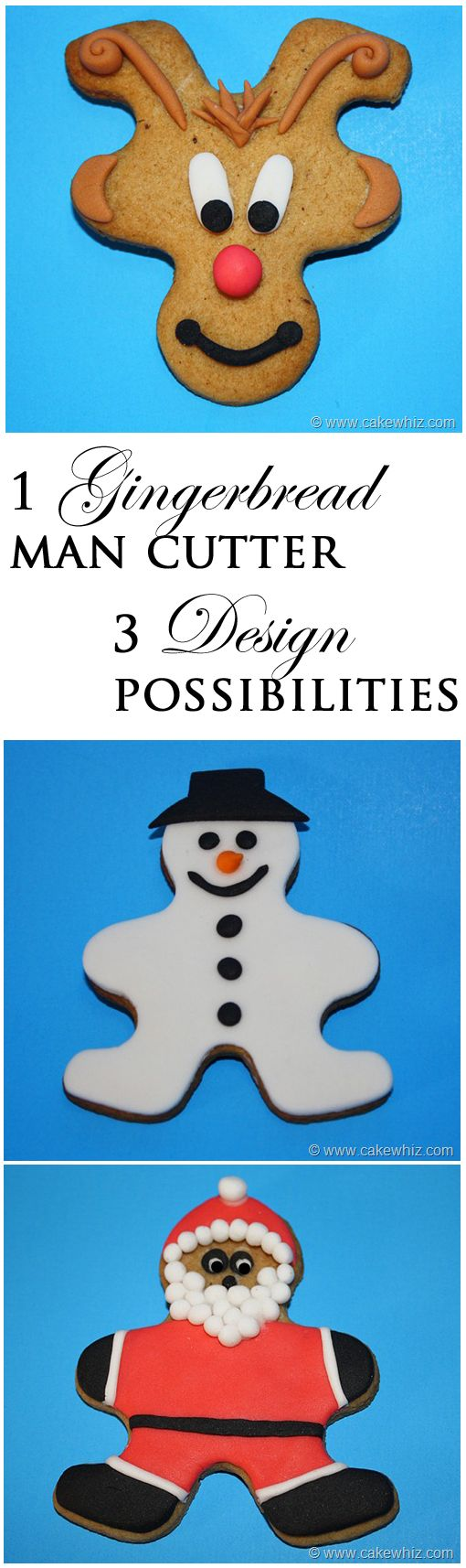 Use a single gingerbread man cutter to make 3 different designs... Rudolph, snowman and Santa! From cakewhiz.com