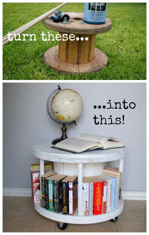 Upcycle: Wooden spool bookcase #DIY