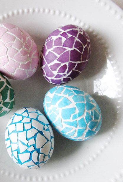 Ingenious move: Applying broken eggshells creates a beautiful mosaic pattern that both stands out and perfectly blends with the egg beneath.  Get the tutorial at Say Not Sweet Anne »
