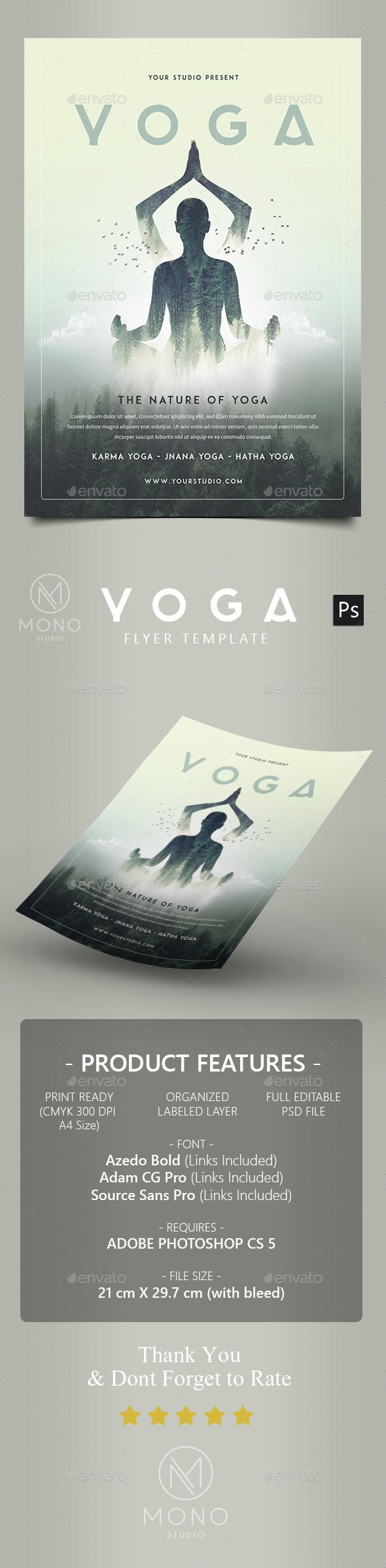 Yoga Flyer — Photoshop PSD #monogrph #simple • Available here → https://graphicriver.net/item/yoga-flyer/14891099?ref=pxcr