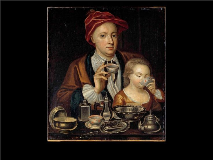 Man & child drinking tea, maybe by Ricahrd Collins (England, died 1732) Col Willbg