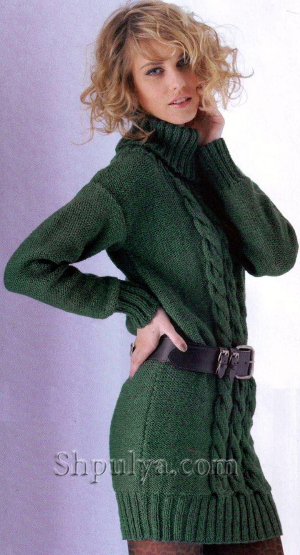 Зеленое мини-платье с косами спицами