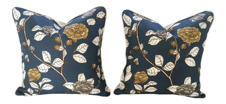 Robert Allen Leda Peony Print Custom Pillows - A Pair