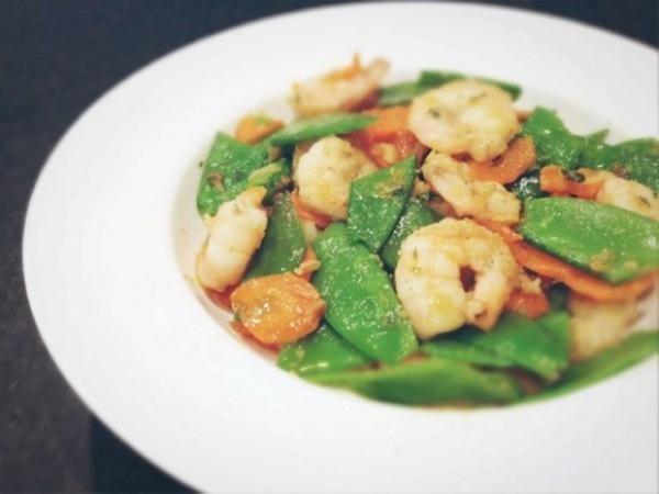 蒜香荷蘭豆清炒蝦仁