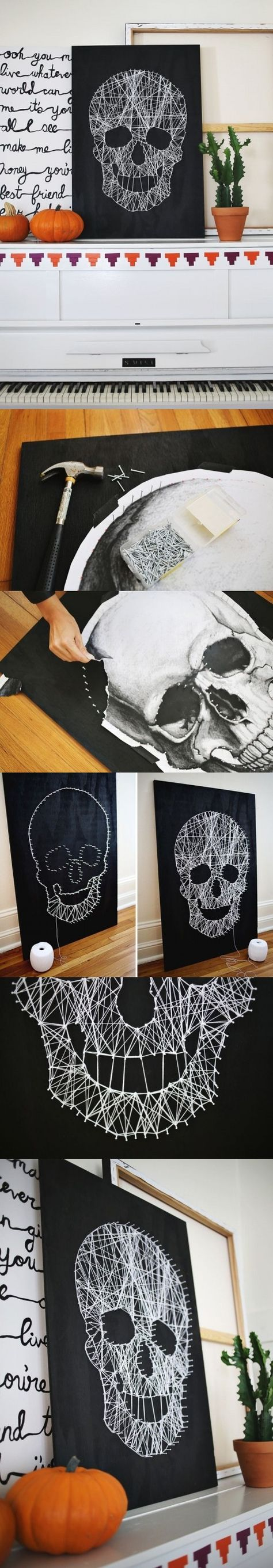 3 Black And White DIY Skull String Art