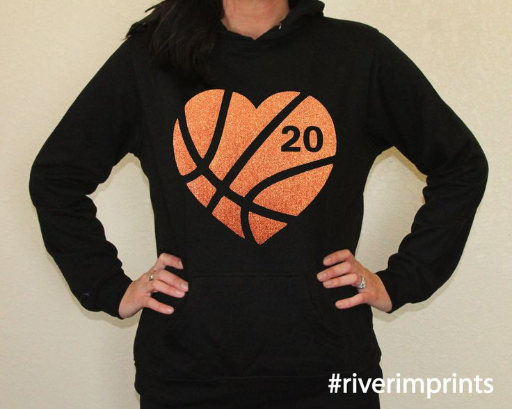 Hoodie BASKETBALL HEART sweatshirt, your choice of glitter colors AND number, lightweight fan wear
