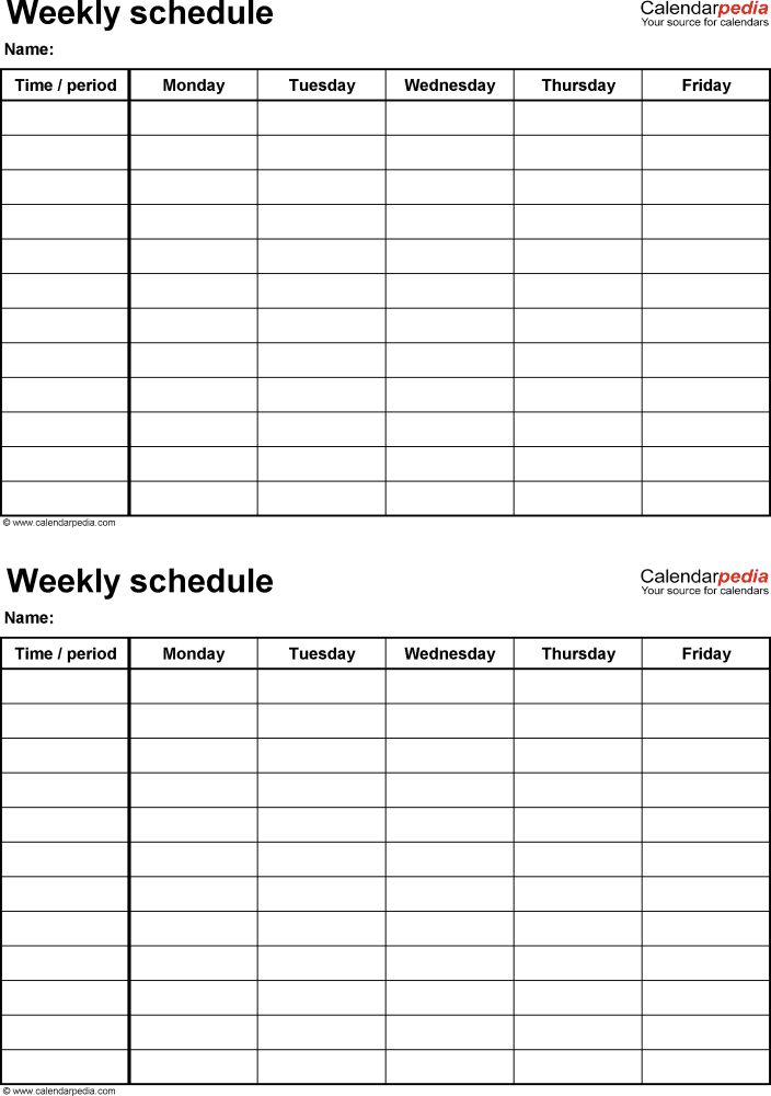 Best Weekly Schedule Template Excel Ideas On
