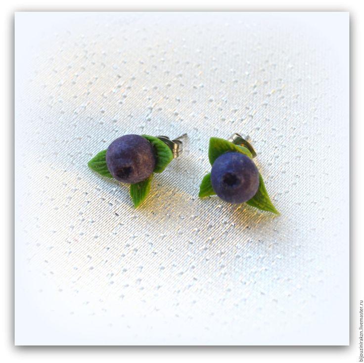 Купить Серьги- гвоздики – ягода черника из полимерной глины. - маленькие серьги