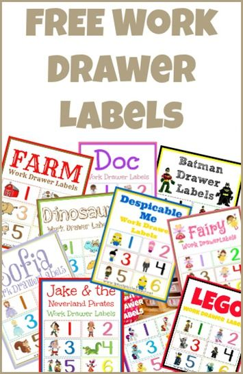Work Drawer Label Printables ~ Doc McStuffins, Lego, Despicable Me, Sofia, My Little Pony, Batman and more! from @{1plus1plus1} Carisa