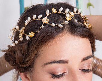 Liberty Bridal Hair Wreath, Gold Bridal Crown, Bridal Hair Vine, Gold Headpiece, Gold Hair Wreath, Bridal Flower Crown, Wedding Headpiece