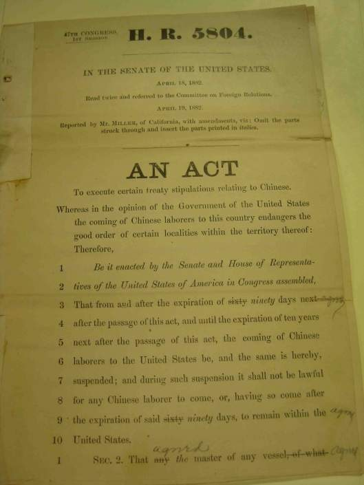 chinese exclusion act 1882 essay The chinese exclusion acts: a racist chapter in us civil rights history this year marks the 130th year since the passage of the chinese exclusion act of 1882 it was the first federal law that excluded immigration of a single group of people based on race.