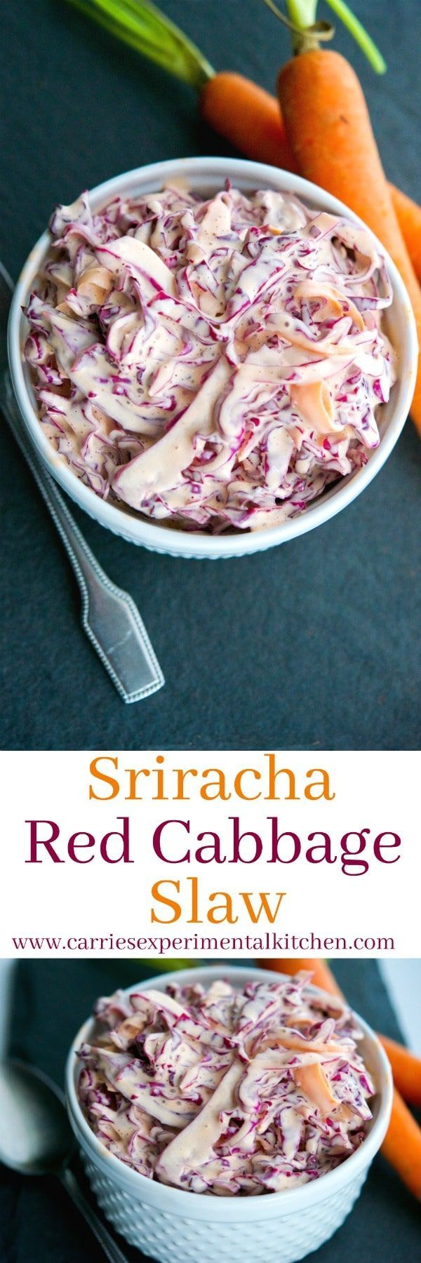 This Sriracha Red Cabbage Slaw is deliciously creamy with a little bit of heat. The perfect addition to your summer salad rotation.