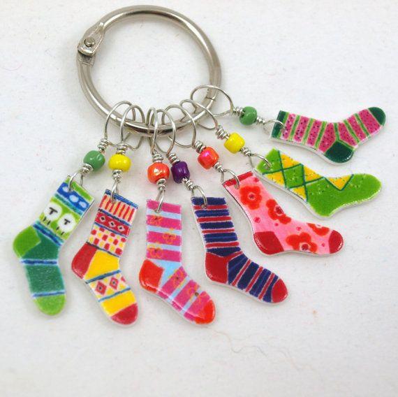 crazy socks 2 stitch markers snag free by needleclicksEtc on Etsy