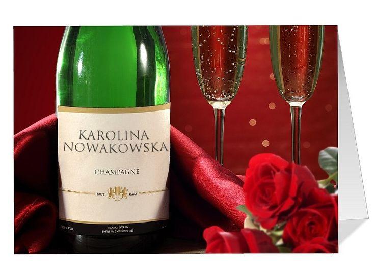 Kartka idealna na okazję, która wymaga wypicia szampana